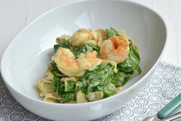 pasta met spinazie en scampi