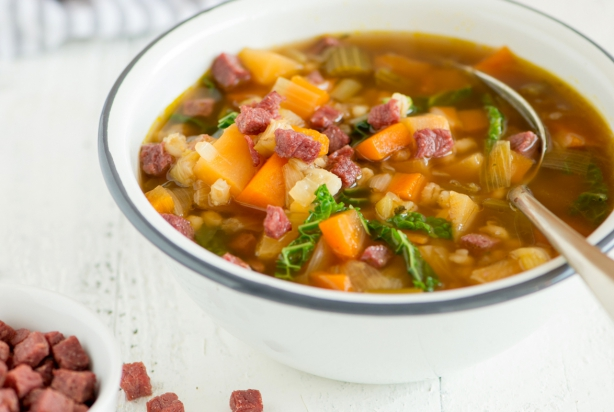 Scotch broth met runderspekjes