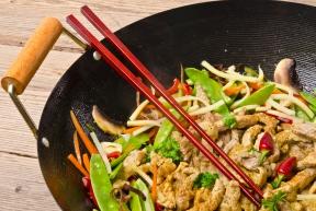 wok gerechten met vlees
