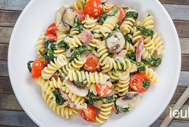 pasta champignons spinazie