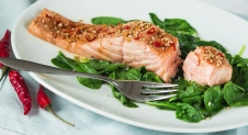 Oosterse zalm met spinazie