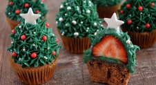 Advent 24: Aardbei Kerstboom Cupcakes