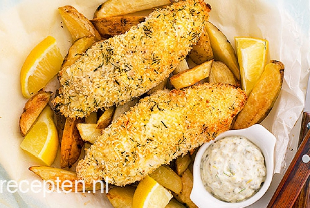 Fish and chips uit de oven