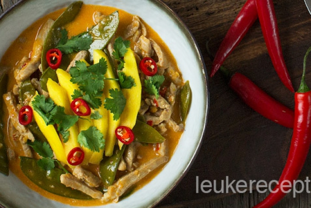 Verse rode curry met runderreepjes